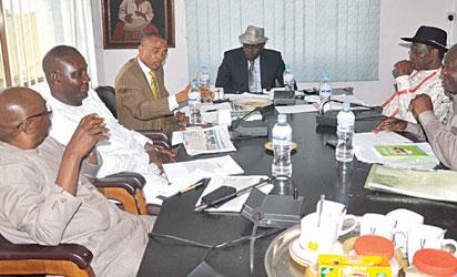 From left: Mr. Marshal Kunoun,  Mr. Ambah Birebi, Barrister Tony Nnadi, Hugo Odiogor, Elder Fred Agbeyegbe and Col. Tony Nyiam at the Conference Hall.
