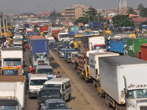 File: Traffic gridlock on Apapa/Oshodi express road, due to slow construction job of the road by Julius Berger and commuter spent sever hours on the road. Photo: Bunmi Azeez