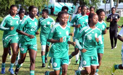 Super Falcons at their training for Nation's Cup in Abuja on Tuesday