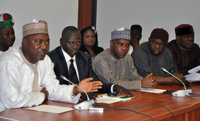 From left: Yakubu Brade, Bitrus Kaze, Tom Zakari, Tobias Okwuru and Jerry Alagbaoso, members of National Unity Group of House of Representatives  (PDP, Labour and APGA members)   addressing  newsmen on the call of APC to boycott budget, confirmation  of Service Chiefs and others at National Assembly, Abuja, yesterday. Photo: Gbemiga Olamikan.
