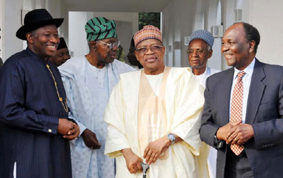 COUNCIL OF State—From left, President Goodluck Jonathan; former Head of Interim National Government, Ernest Shonekan; former military president, General Ibrahim Babangida; former President Shehu Shagari, and former Head of State, General Yakubu Gowon, after the National Council of State meeting in Abuja,yesterday. Photo: NAN