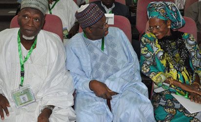 Confab: From left — Mamman Misau, Senator  Jubril Aminu and former Minister of Information, Prof. Dora Akunyili  at the National Conference in Abuja. Photo by Gbemiga Olamikan.
