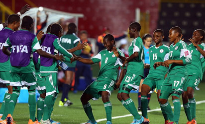 ALAJUELA, COSTA RICA - Joy Bokiri #8 of Nigeria celebrates after scoring the equalizing goal during the FIFA U-17 Women's World Cup 2014 group D match between Colombia and Nigeria at Alejandro Morera Soto Scotiabank on March 19, 2014 in Alajuela, Costa Rica. (Photo by Martin Rose - FIFA/FIFA