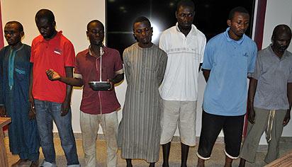 Boko Haram members Kill Sheikh Auwal Albani  and Family: Department of State Security Services (DSS) yesterday paraded, From left, Yakub Abdullahi (a.k.a. Alhaji Bala/Alhaji Kano Yakubu Bulunkutu), Ibrahim Shuaibu (a.k.a Kawal Abu Amar), Bilyaminu Usman, Sahabi Ismail, Umar Farouk, Yasir Ibrahim  Salihu (graduate of English Literature ABU Zaria)  and Musa Abubakar  for  murder of Sheikh Auwal Adam Alban, his wife and Son at Gwagwaje area of Zaria, Kaduna State in Abuja . Photo by Gbemiga Olamikan.