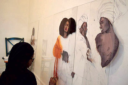 *Kosisochukwu putting finishing touch to one of her works