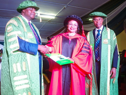 Outgoing Vice Chancellor University of Nigeria Nssuka Prof Bartho Okolo, technoctae and businesswoman Mrs Foluso Alakija, and Pro-Chancellor UNN Emmanuel Ukala during a award of honorary degree at to Mrs Alakija at the 43rd convocation and award of the university held at the Margaret Ekpo Convocation Arena UNN