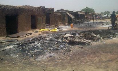 A Zamfara community burnt down by the rampaging Fulani herdsmen