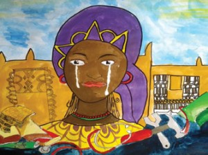 Ayomikun Omoyiola, 11 years old and Nigeria's Youngest Peace Ambassador speaks on the abduction of the Chibok girls in her painting titled 'stolen dreams'
