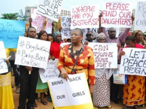 Some women, led by Mrs  Oby Ezekwesili,  protesting the abduction of 230 school girls in Chibok, Borno State.
