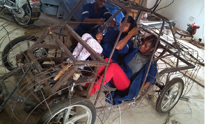 """Undergraduates from Uniben work relentlessly to design, build and test an energy-efficient car called """"Tuketuke"""" that will compete at Shell Ecomarathon Take from Eco-tuketuke facebook page"""