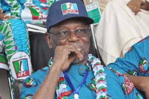 Newly Elected National  Chairman of APC  Odigie-Oyegun at APC National Convention in Abuja. Photo by Gbemiga Olamikan.
