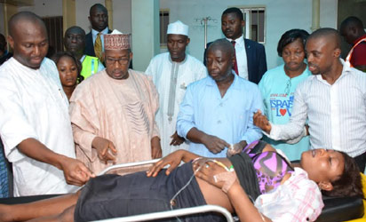 FCT Minister, Senator Bala Mohammed (2nd from left), Health Secretary, Dr Demola Onakomaiya (left) during a visit to Maitama General Hospital to sympathize with victims of the bomb blast at Banex Plaza in Wuse II, Abuja…Wednesday.