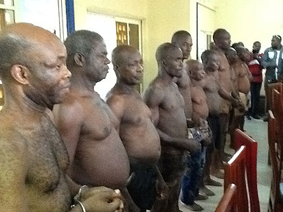The arrested Biafra Zionists Federation, BZF, members on parade.