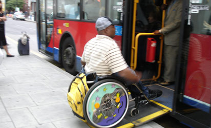 Disabled boarding a bus...