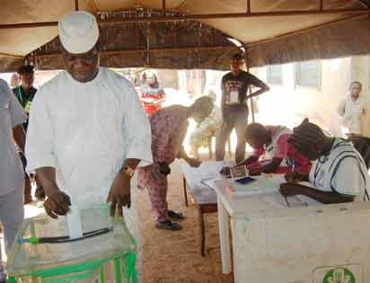 Labour Party Governorship Candidate Opeyemi Bamidele casting his vote. Pic by Dare Fasube