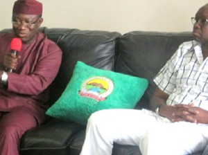 File: Gov. Kayode Fayemi of Ekiti (l) and Governor-Elect, Mr Ayo Fayose, during Fayose's visit to the Governor in  Ado-Ekiti on Monday
