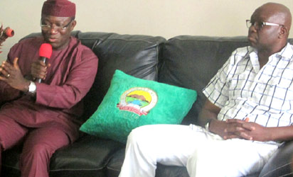Gov. Kayode Fayemi of Ekiti (l) and Governor-Elect, Mr Ayo Fayose, during Fayose's visit to the Governor in  Ado-Ekiti on Monday