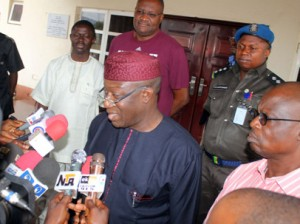 Gov.Fayemi addressing the press