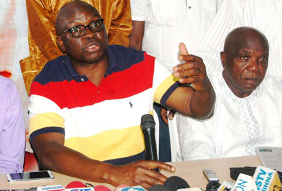 Ekiti state Governor Elect, Mr Ayodele Fayose addressing the press over his victory at the poll, Sunday.