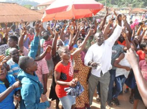 JUBILATION—People of Ado-Ekiti celebrating Pdp Governor-Elect, Mr Ayo Fayose's victory in Ekiti, yesterday. Inset:  Fayose with another cross section of his supporters.