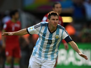 Argentina's forward and captain Lionel Messi celebrates after scoring a goal during a Group F football match between Argentina and Iran at the Mineirao Stadium in Belo Horizonte during the 2014 FIFA World Cup in Brazil on June 21, 2014. AFP PHOTO / PEDRO UGARTE