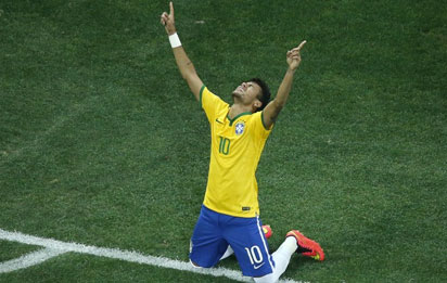 Neymar celebrates his first goal.... AFP