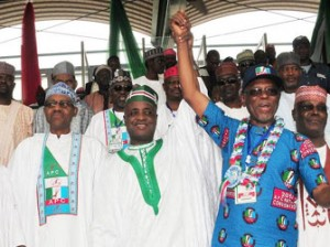 Gov. Aliyu Wamakko Of Sokoto (m), Raising The Hand Of The Newly Elected National  Chairman Of Apc, Chief John Odigie-Oyegun, at the tarty's National Convention In Abuja On  Saturday (14/6/14). With Them Are, Former Governor Of Lagos State,  Bola Tinubu (L); Former Head Of State   Gen. Muhammadu Buhari (2nd-L) And Former Vice President Atiku  Abubakar.