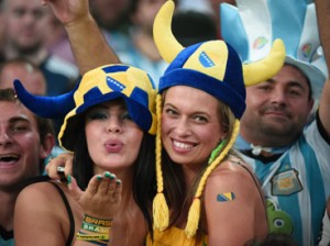 Bosnian fans cheer during a Group F football match between Argentina and Bosnia-Hercegovina at the Maracana Stadium in Rio De Janeiro during the 2014 FIFA World Cup on June 15, 2014.