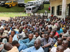 Cross section of Suspected Boko-haram Insurgence arrested between Aro-Ngwa and Imo gate along Enugu-Portharcort Express way in Abia state by the Nigerian Army attached to the state, insert are their (33) buses.