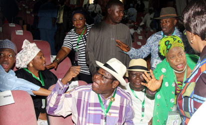 UPROAR OVER Revenue formula: Delegates to the National Conference argue during debate on revenue sharing formula as the conference degenerated into a rowdy session, yesterday.