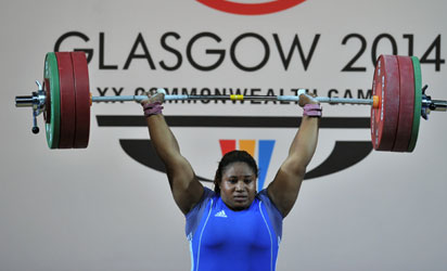 Maryam Usman of Nigeria during her golden lift in the Women's +75kg weightlifting final at the SECC Precinct during the 2014 Commonwealth Games in Glasgow, yesterday.