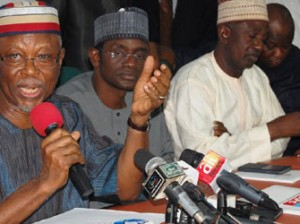 From left, All Progressive Congress (APC) National Chairman, Chief John Oyegun; National Secretary APC, Allhaji Maimala Bunni and Deputy National chairman North, Alhaji Shaibu Lawal  addressing pressmen reacting to impeachment moves by Federal Government and PDP in the State of the Federation in Abuja yesterday. Gbemiga Olamikan.