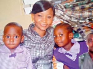 Mrs Sara Steven Zira with their kids and Sergeant Stephen Zika...set ablaze by Boko Haram