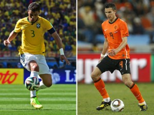 A combination of file pictures shows Netherlands' striker and captain Robin van Persie (R) controlling the ball in Durban on June 28, 2010 and Brazil's defender and captain Thiago Silva controlling the ball in Belo Horizonte on June 28, 2014. Brazil will try to rescue some of their battered pride after their humiliating World Cup semi-final defeat to Germany as they face the Netherlands in the third-place play-off in Brasilia on July 12, 2014. AFP PHOTO