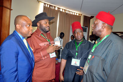 Confab: From left, Mr Christian Udechukwu, Chief Dan Nwanyanu, Chief Victor Umeh and Senator Ike Nwachukwu discussing during National Conference in Abuja . Photo by Gbemiga Olamikan