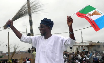 Gov. Rauf Aregbesola of Osun celebrating his re-election in Osogbo on Sunday