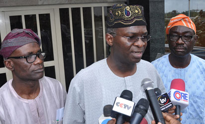 From left: Mr. Remi Ibirogba, Commissioner, Information and Strategy, Gov. Babatunde Fashola of Lagos and Mr. Lateef Raji, Special Adviser on Information and Strategy, during the Governor's Press briefing on Ebola Virus, at Lagos House, Alausa, Ikeja, Lagos. Photo: Bunmi Azeez