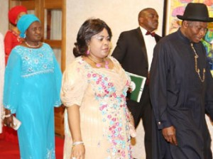 FROM RIGHT President Goodluck Jonathan  the First  Lady, Wife of the Senate President Mrs David Mark Chairman of the Fund Raising Dinner Gen Ty Danjuma  and the Deputy Senate President  Senator Ike Ekweremadu arriving for the  Fund Raising Dinner for Victims of Terrorism at the State House Abuja Thursday