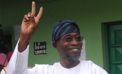 GOV. RAUF AREGBESOLA WINNER OF OSUN GOVERNORSHIP ELECTION AT IFOFIN POLLING UNIT 1, WARD 8, IN ILESA ON SATURDAY