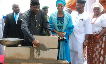 L-R; Chairman of the Quantum Petrochemical Complex Mr. Jim Ovia,President  Goodluck Jonathan, Minister Of Petroleum Resources Deziani Alison-Madueke, Akwa Ibom State Governor, Godswill  Akpabio  and his Wife Mrs. Ekaete Unoma Akpabio, during the Ground Breaking Ceremony of the Quantum Petrochemical Complex, held at  the Ibeno Local Government Area, Akwa Ibom State yesterday