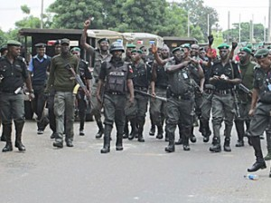 Policeman get sets to quell protect of students of Olabisi Onabanjo University Ago-Iwoye in Abeokuta
