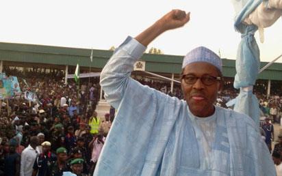 BUHARI DECLARES: General Muhammadu Buhari (rtd) declaring his intention to seek the All Progressives Congress, APC, nomination to contest next year's presidential election yesterday.