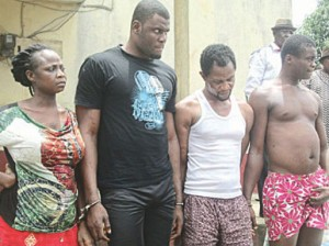 •The female robbery suspect and her gang