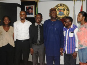 Ebola Survivors: Gov. Babatunde Fashola of Lagos(4th left) with survivors of the Ebola Virus Disease, EVD, during a visit to the Governor in Lagos, yesterday. From Right: Dr. Adaora Igonoh, Dennis Akagha, Fashola, Dr. Ibeawuchi Morris, Dr. Fadipe Akinniyi and Dr. Enemuo Kelechi