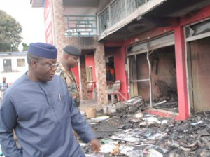 Gov Fayemi inspecting the ruination in the state