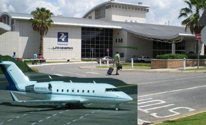 CAUGHT—Lanseria Airport, Johannesburg, S-Africa. INSET: The Bombardier Challenger jet.  Courtesy: Flightaware.