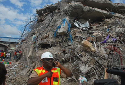 The site of the collapsed building at the Synagogue Church, Ikotun-Egbe, Lagos.