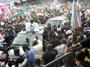 BUHARI DECLARES—Arrival of Gen. Mohammadu Buhari, during his declaration of intent for All Progressives Congress, Apc, Presidential candidate in Abuja, yesterday. Photo: Gbemiga Olamikan.