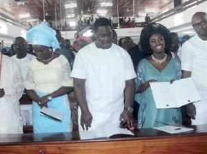 From Left; Governor Emmanuel Uduaghan, Deaconess Roli Uduaghan, Toritseju Uduaghan, Mrs. Orode Okpu and Mr. Ryan Okpu