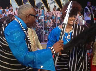 Pastor Ayo Oritsejafor  and wife doing the Swange dance after the decoration.